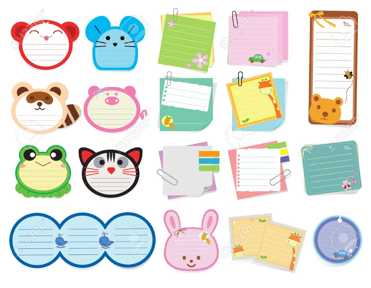 Collection of various note papers, Vector illustration template design Stock Vector - 20273197