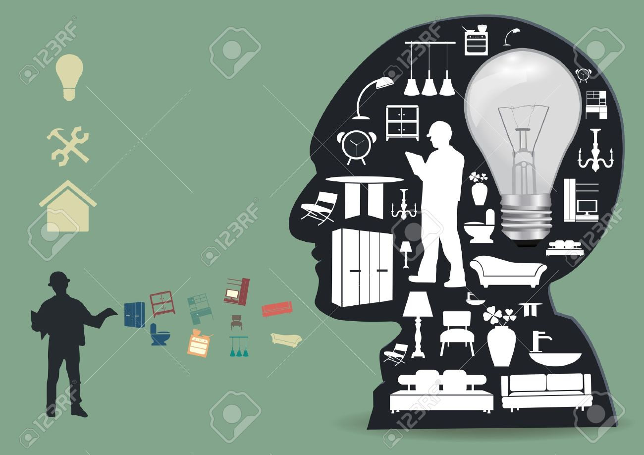 Home Appliances Icons In A Male Head Silhouette Home Improvement And Decoration Service Concept Idea
