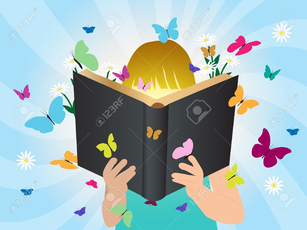 Imagination concept children reading story book, illustration template design Stock Vector - 21130134