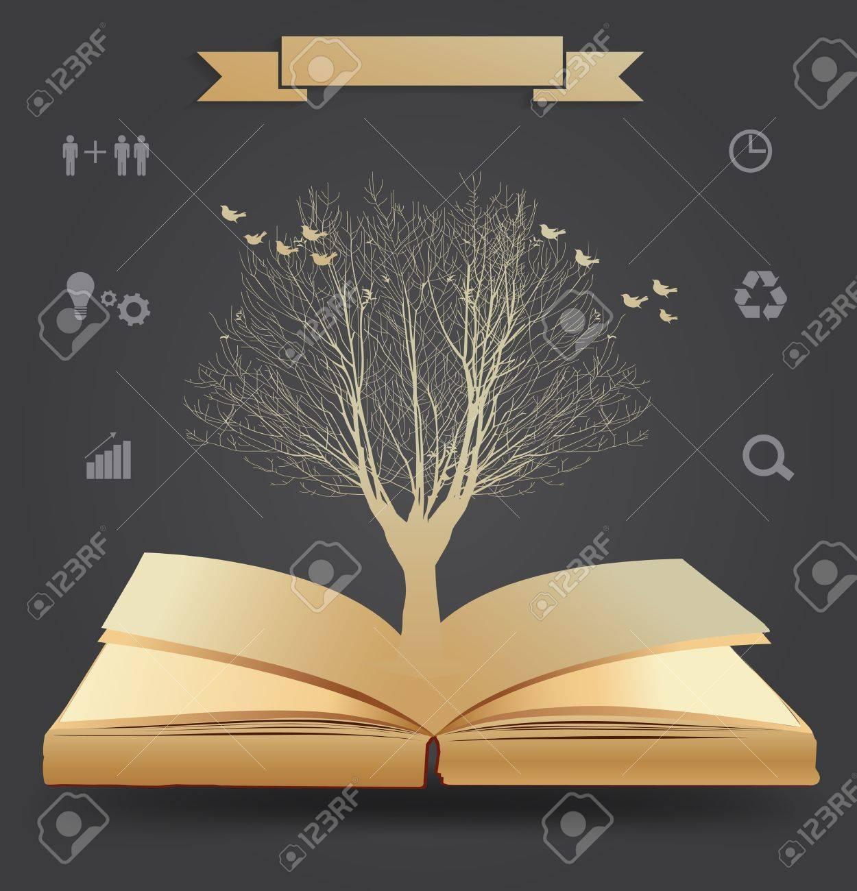 Tree silhouette on book, illustration modern template design Stock Vector - 21130146