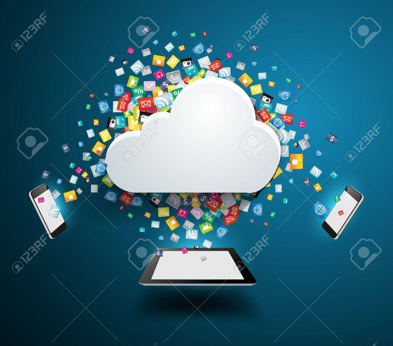 Cloud computing concept, With colorful application icon business software and social media networking service idea concept, illustration modern template design Stock Vector - 21122548