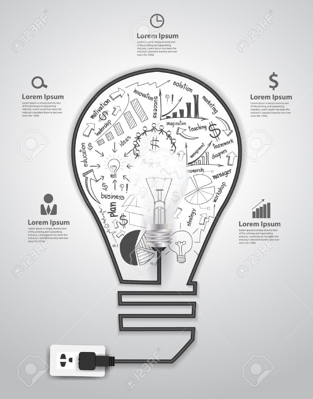 Creative light bulb with drawing charts and graphs business success strategy plan concept idea, Vector illustration modern template design Stock Vector - 21725078