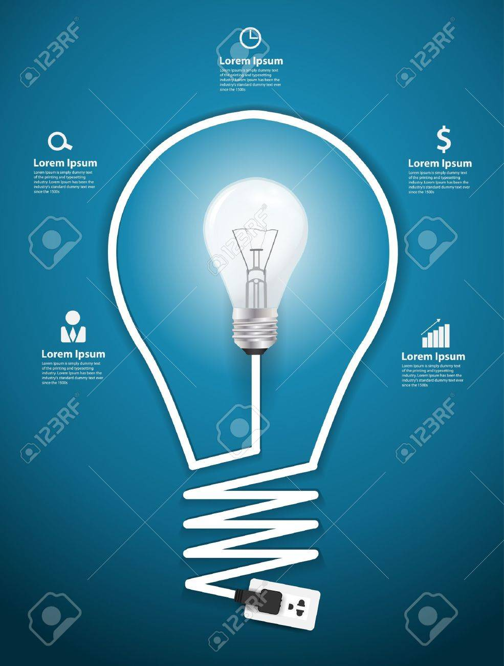 Creative Light Bulb Abstract Infographic Modern Design Template Incandescent Diagram Workflow Layout Step Up Options
