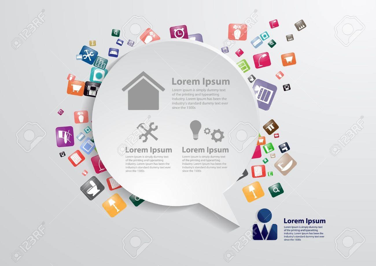 Moderne Business-Blase Rede Vorlage Mit Wohnmöbel Symbolen, Home ...