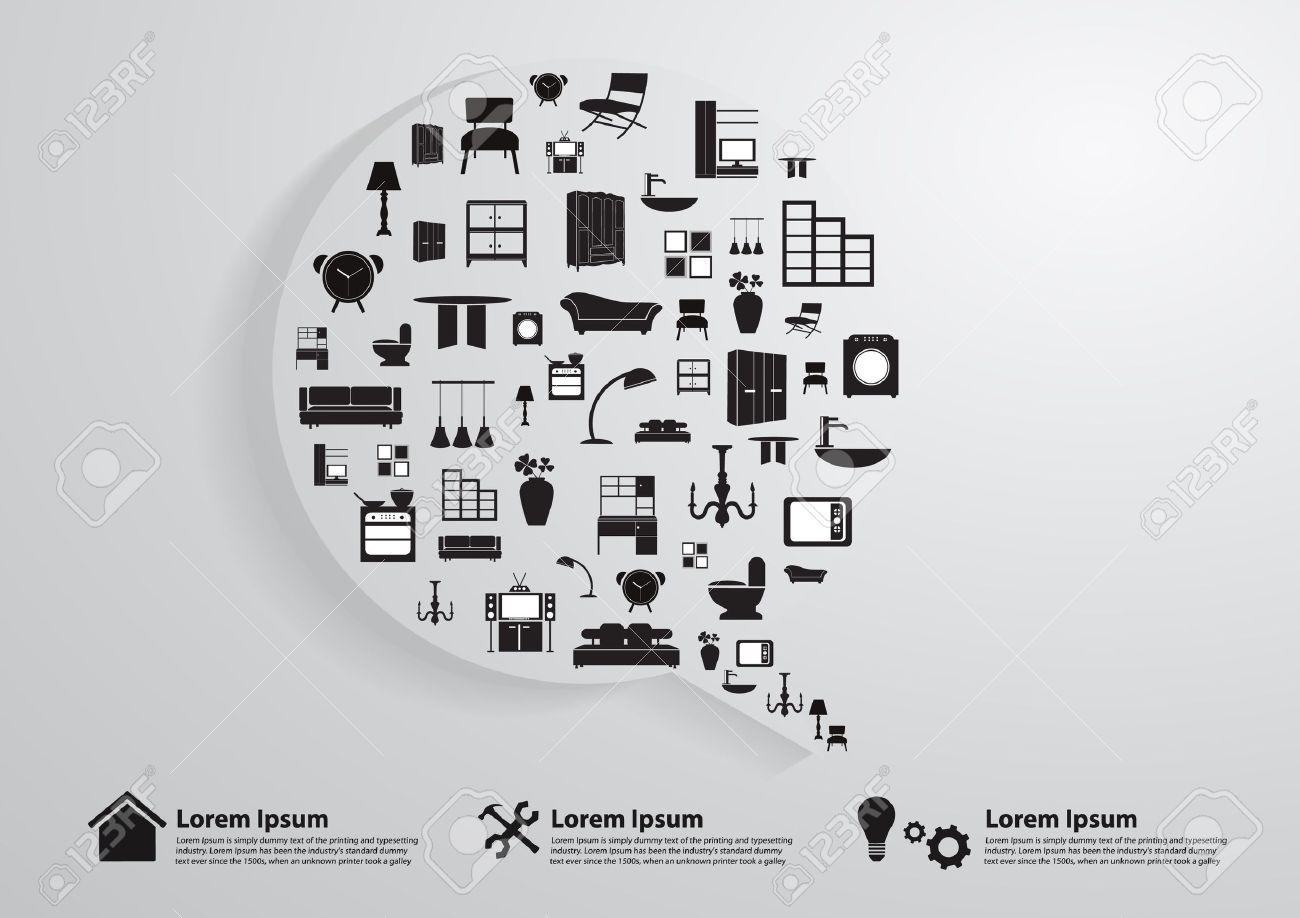 Modern Business Bubble Speech Template With Home Furniture Icons ...