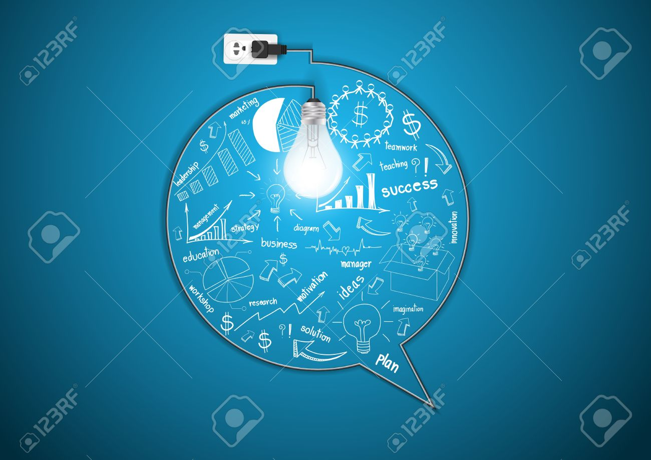 Creative Light Bulb With Drawing Business Strategy Plan Concept Idea ...
