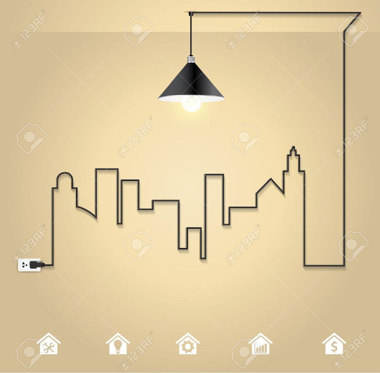 Interior Design Vector Cityscape With Creative Wire Light Bulb Idea Concept