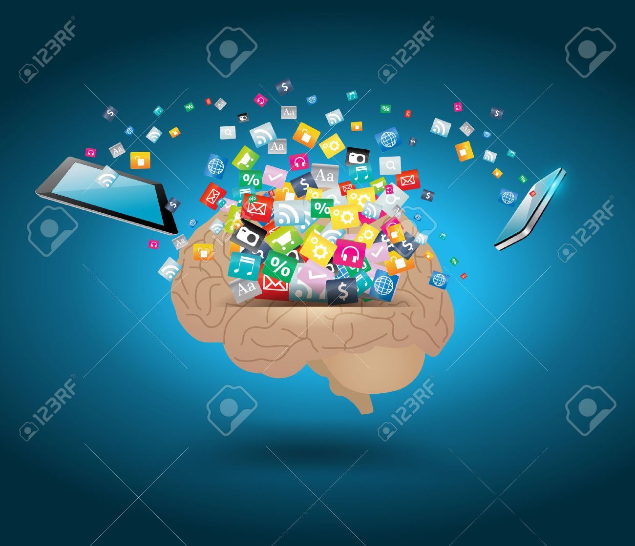 Vector creative cloud of colorful application icon with brain idea concept Stock Vector - 22962756