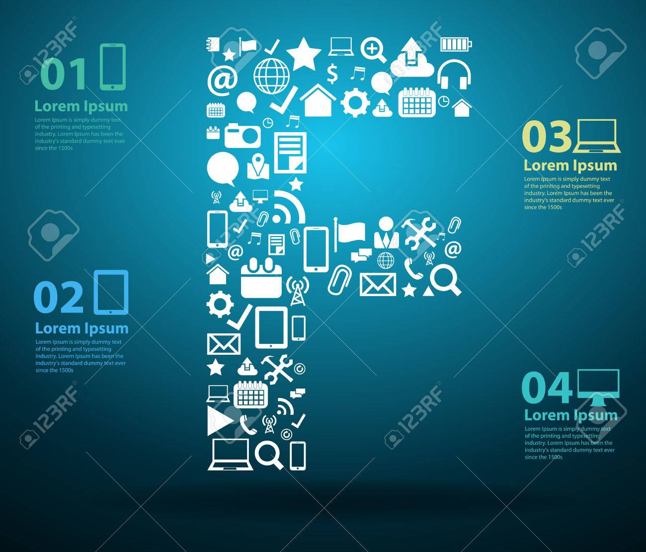 Application Icons Alphabet Letters F Design, Technology Business ...
