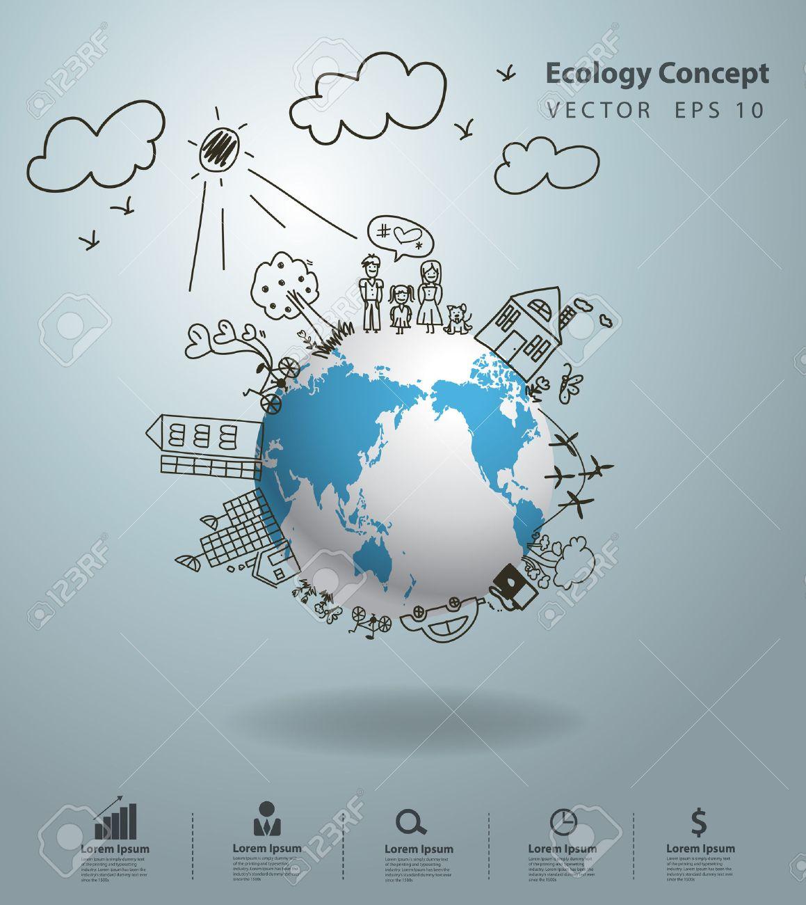 Vecteur clipart de main sur 201 cologie conscience image concept -  Cologie Concept De L Cologie Dessin Cr Atif Sur L Environnement Mondial Avec