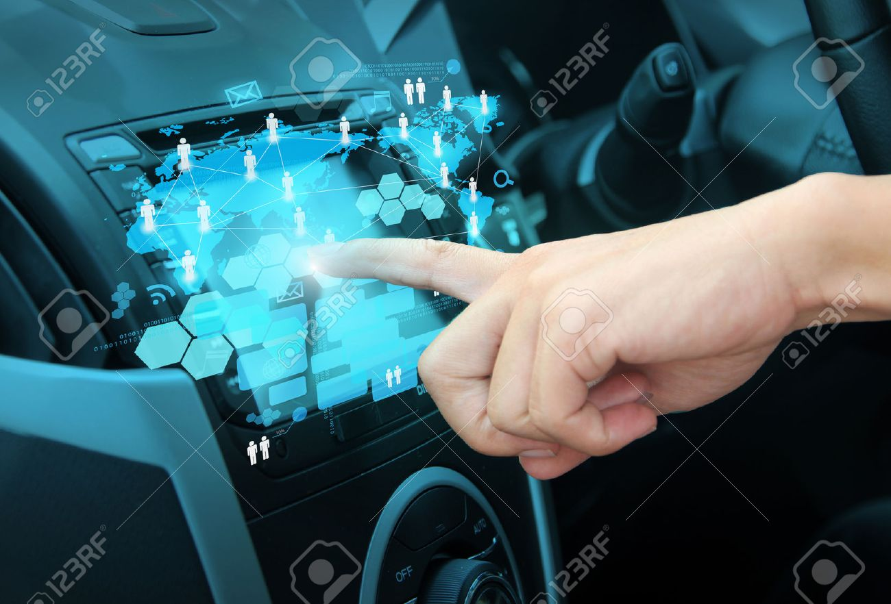 Car interior entertainment - Multimedia Entertainment Pressing On A Touch Screen Interface Navigation System In Interior Of Modern Car