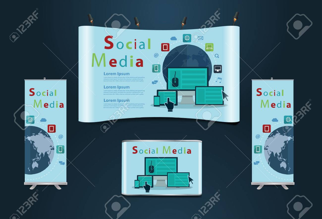 Exhibition Stand Design Free Software : Trade exhibition stand with flat icons business software and