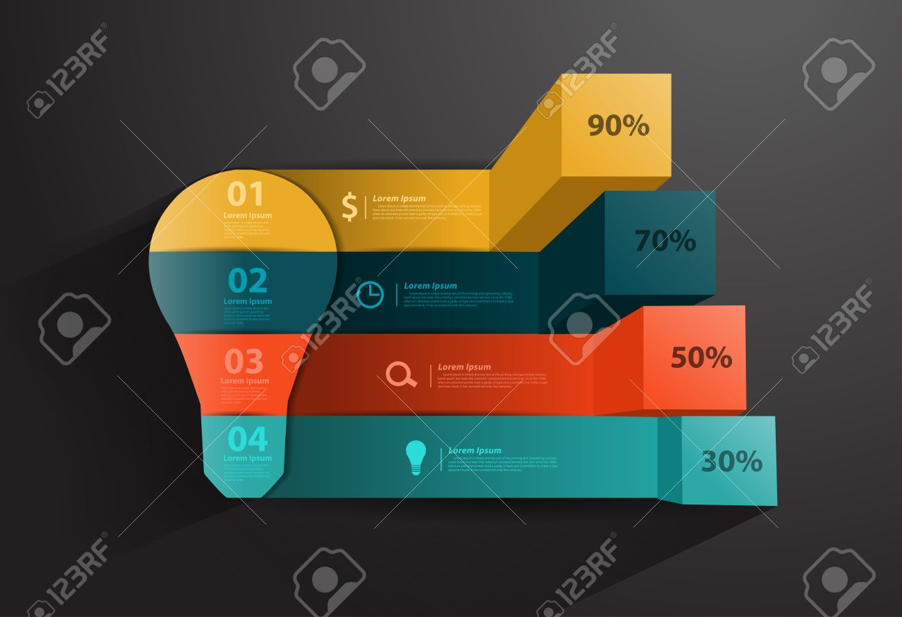 Creative Charts Vector Idea Infographic With Light Bulb Template For Diagram Modern Business Steps To Success And Graphs Options