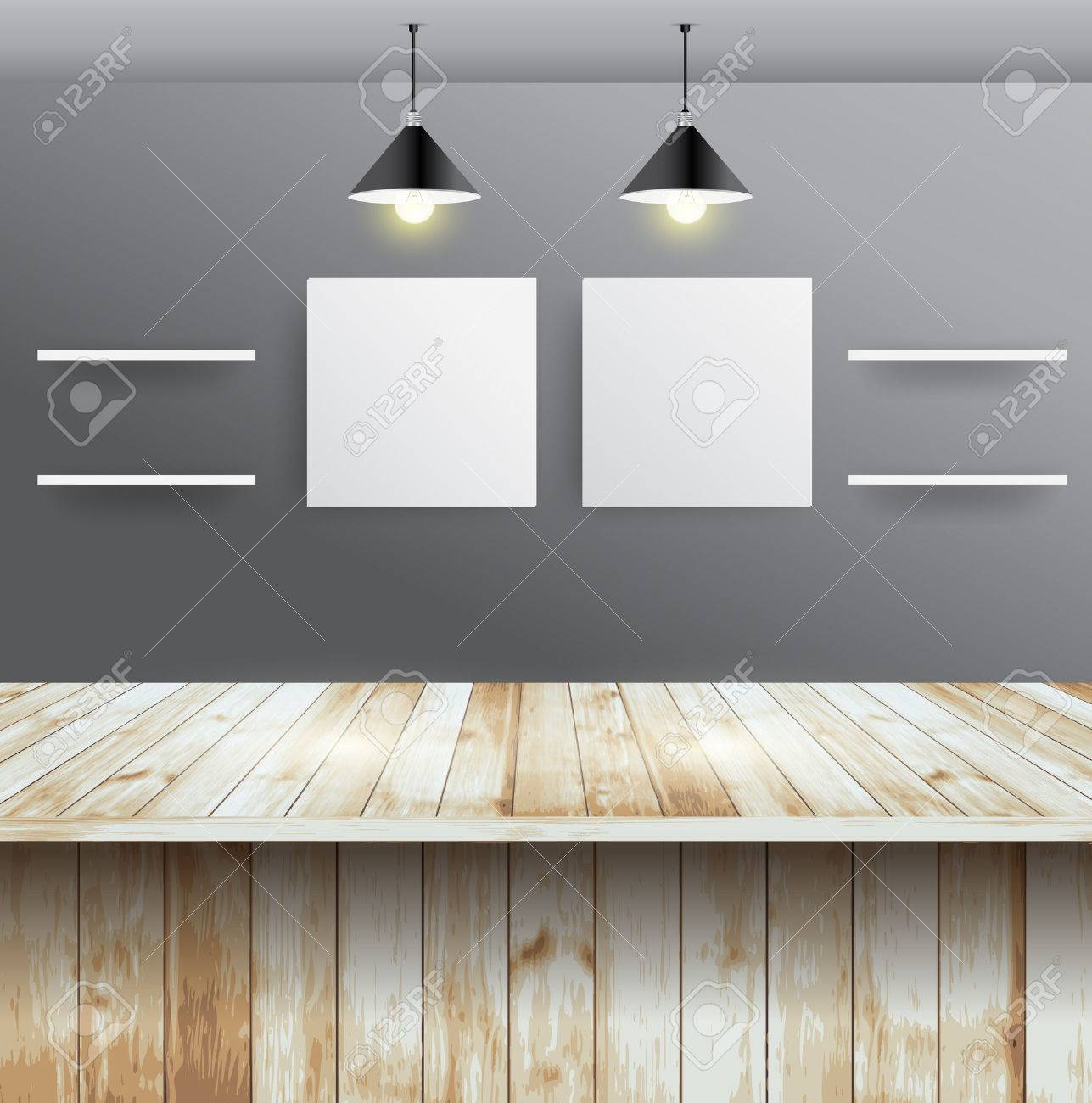 Interior wooden shelves free vector - Wood Table With Wall Room Interior Design Vector Illustration Modern Template Design Stock Vector