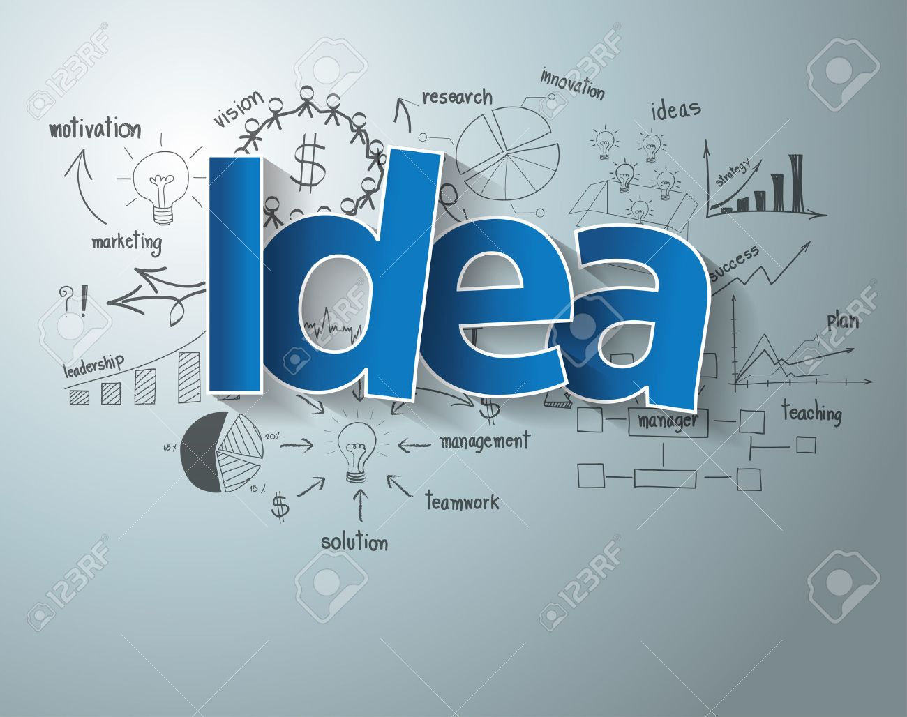 With creative drawing charts and graphs business success strategy plan idea - 32606324