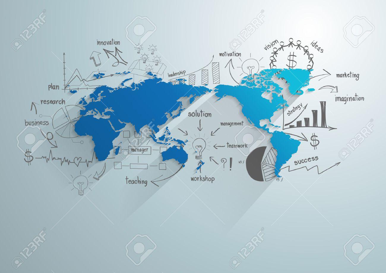 Fabuleux Carte Du Monde Avec Tableau Et Graphiques De Dessin Créatif  LX66