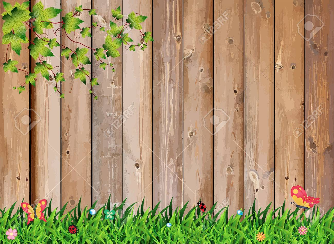 Fresh Spring Green Grass With Leaf Plant Over Wood Fence Background, Vector  Illustration Template Design