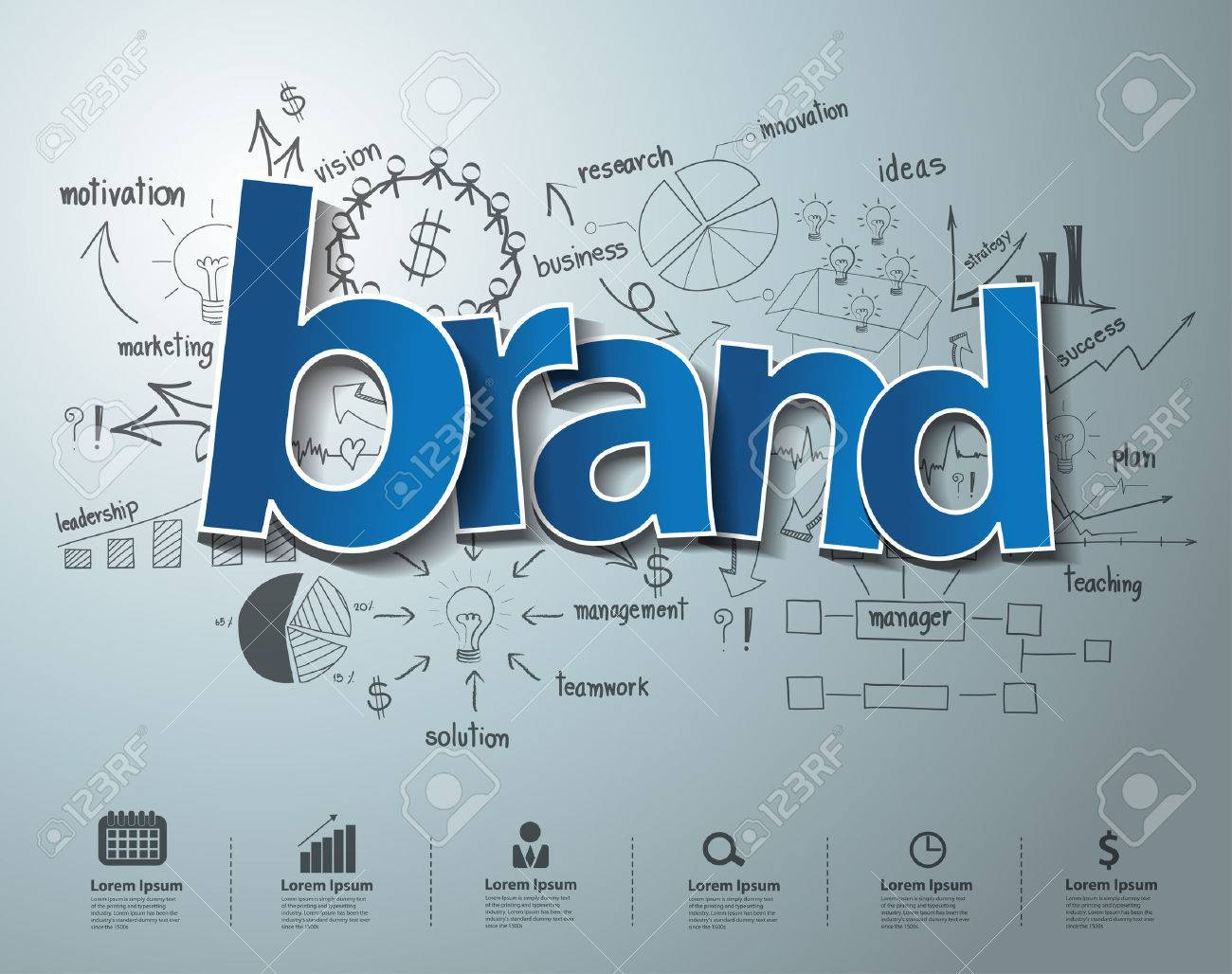 Brand Text, With Creative Drawing Charts And Graphs Business ...