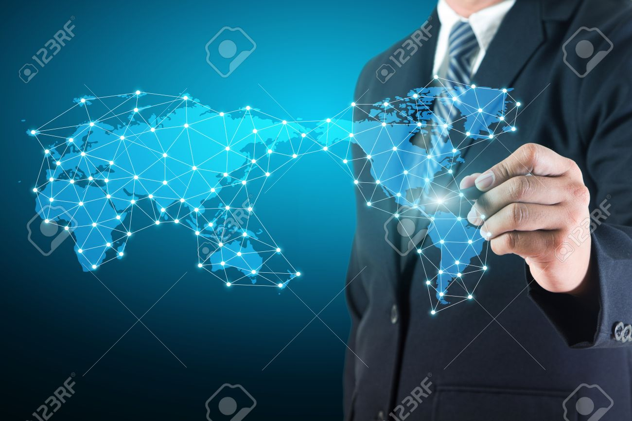 Business Man Drawing Social Network Connection Data Diagram With ...