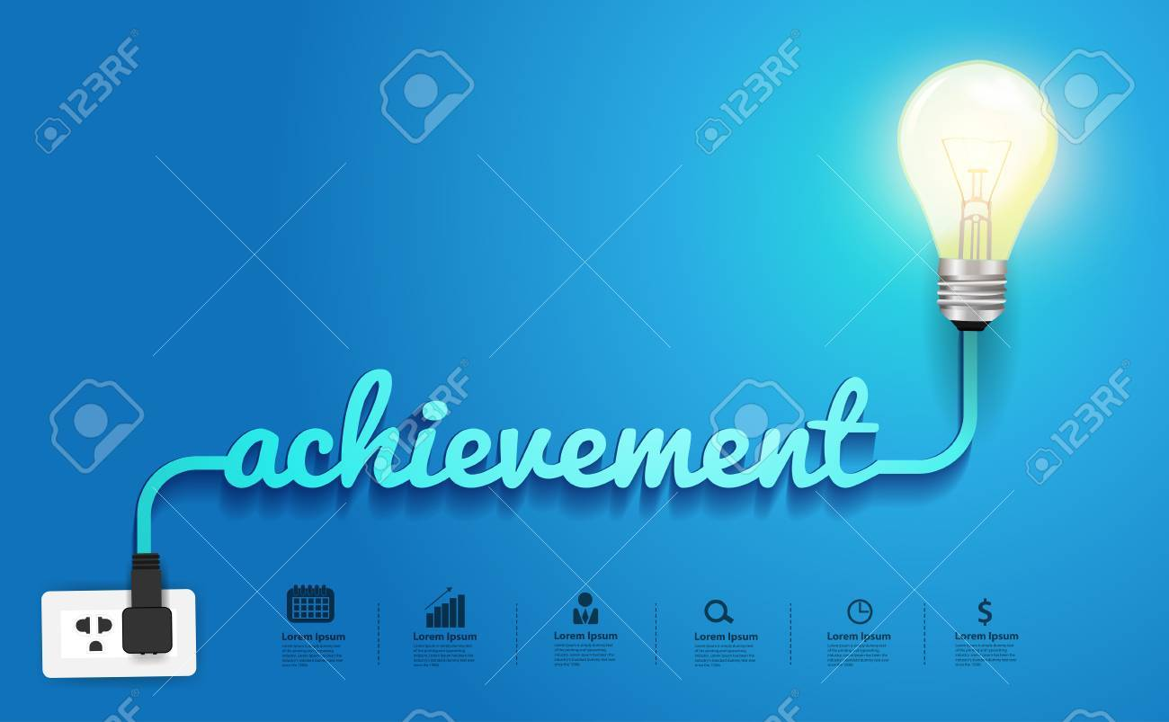 Achievement Concept Creative Light Bulb Idea Abstract Infographic Incandescent Diagram Layout Step Up Options