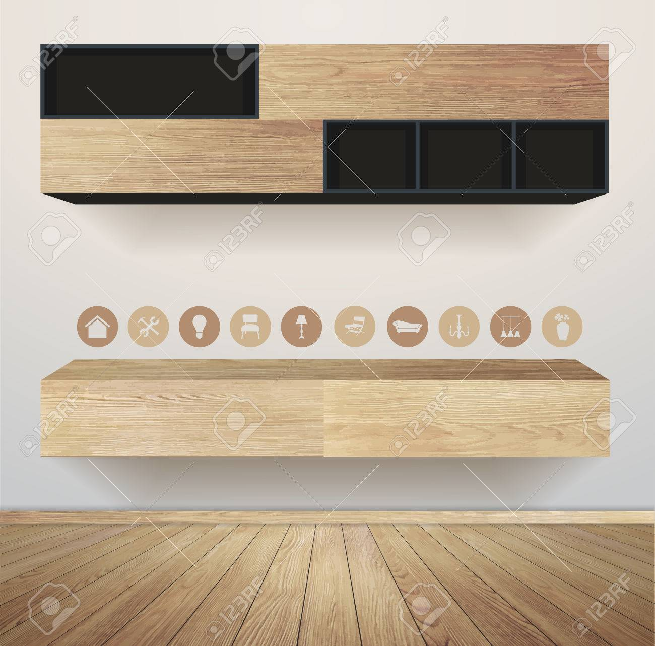 Interior wooden shelves free vector - Living Room Interior With Furniture Flat Icons Vector Illustration Modern Template Design Stock Vector