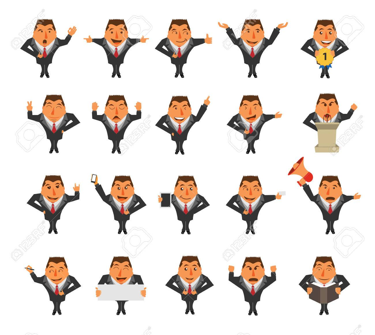 businessman cartoon character ideas concept isolated on white