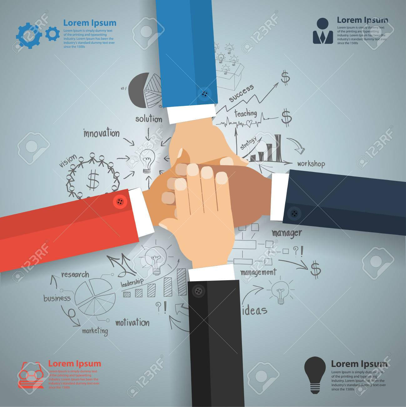 Business Team Showing Unity With Their Hands Together With Creative ...