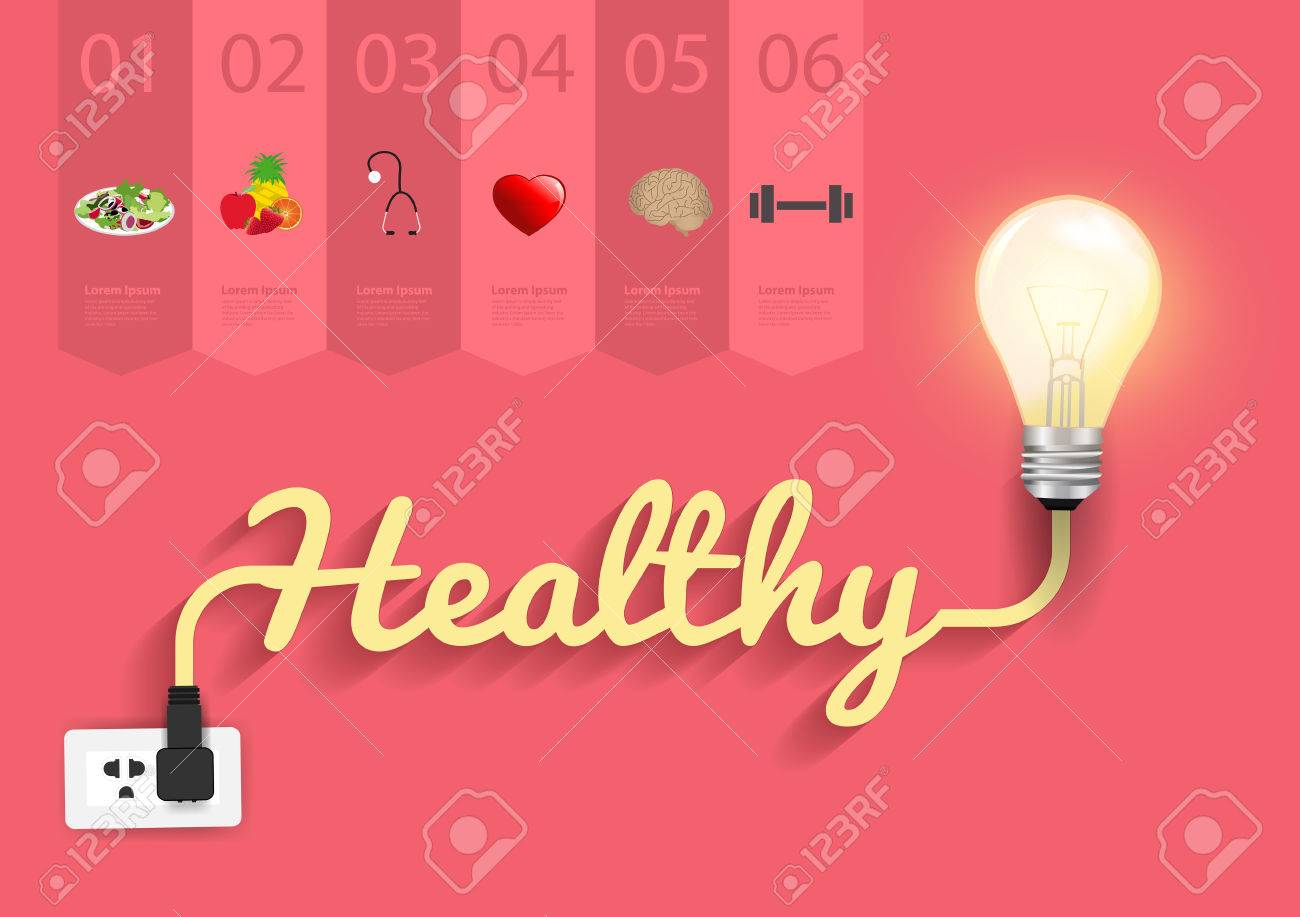 Healthy Ideas Concept Creative Light Bulb Design Abstract Incandescent Diagram Infographic Layout Step Up