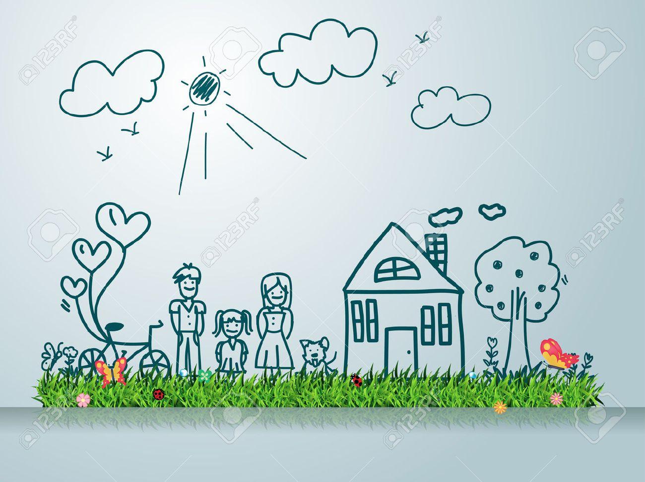 Glückliche Familie Mit Haus, Kreative Zeichnung Auf Der Grünen Wiese ...