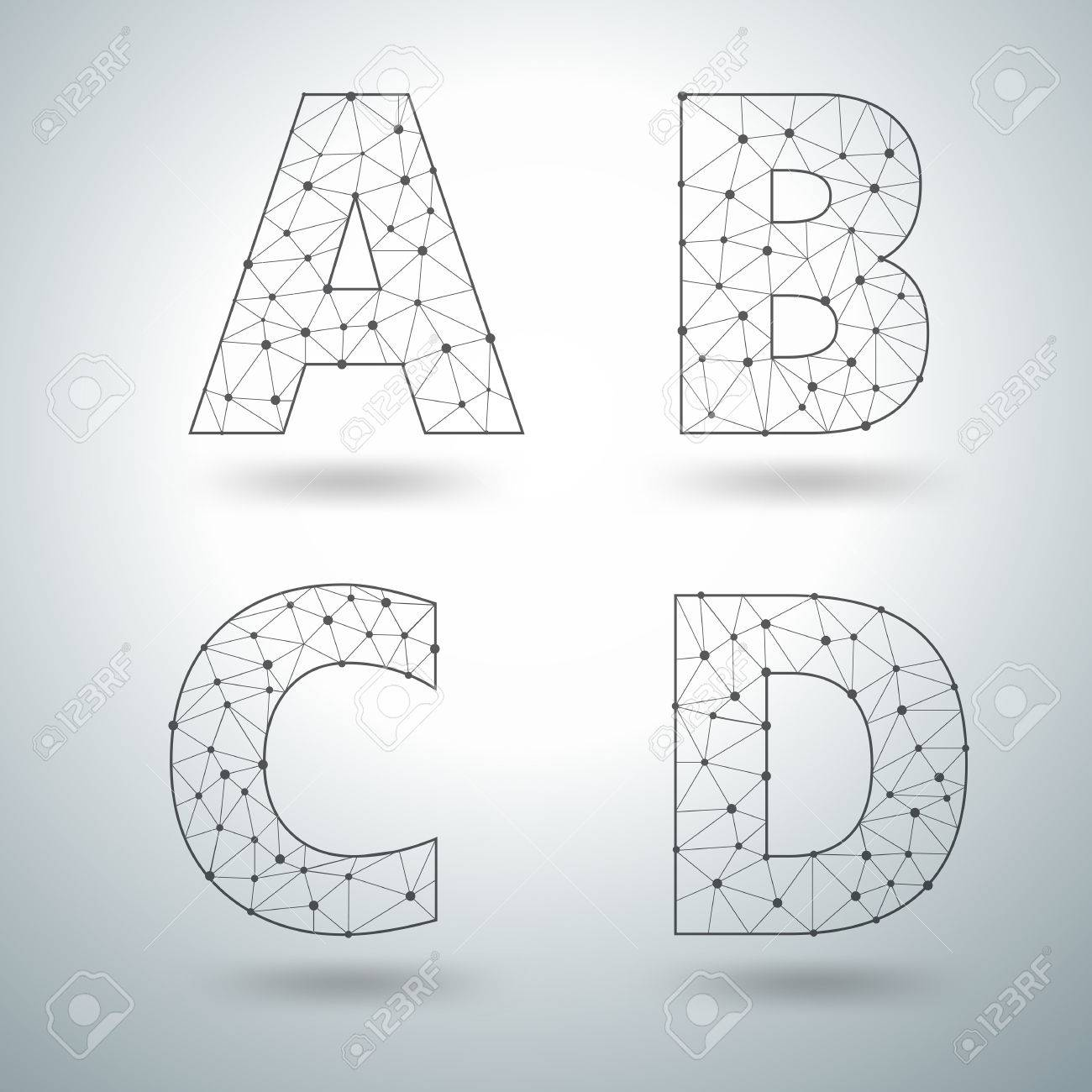 mesh stylish alphabet letters numbers a b c d vector illustration