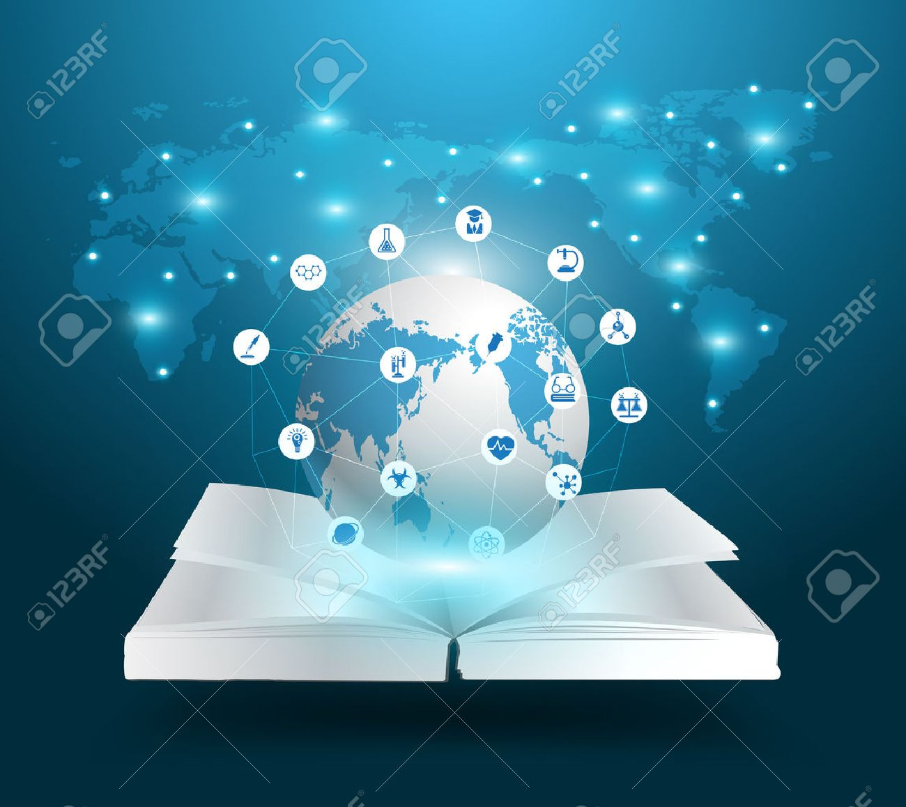 Open book and globe knowledge ideas concept, With education chemistry and science icons, Vector illustration template modern design - 45305038