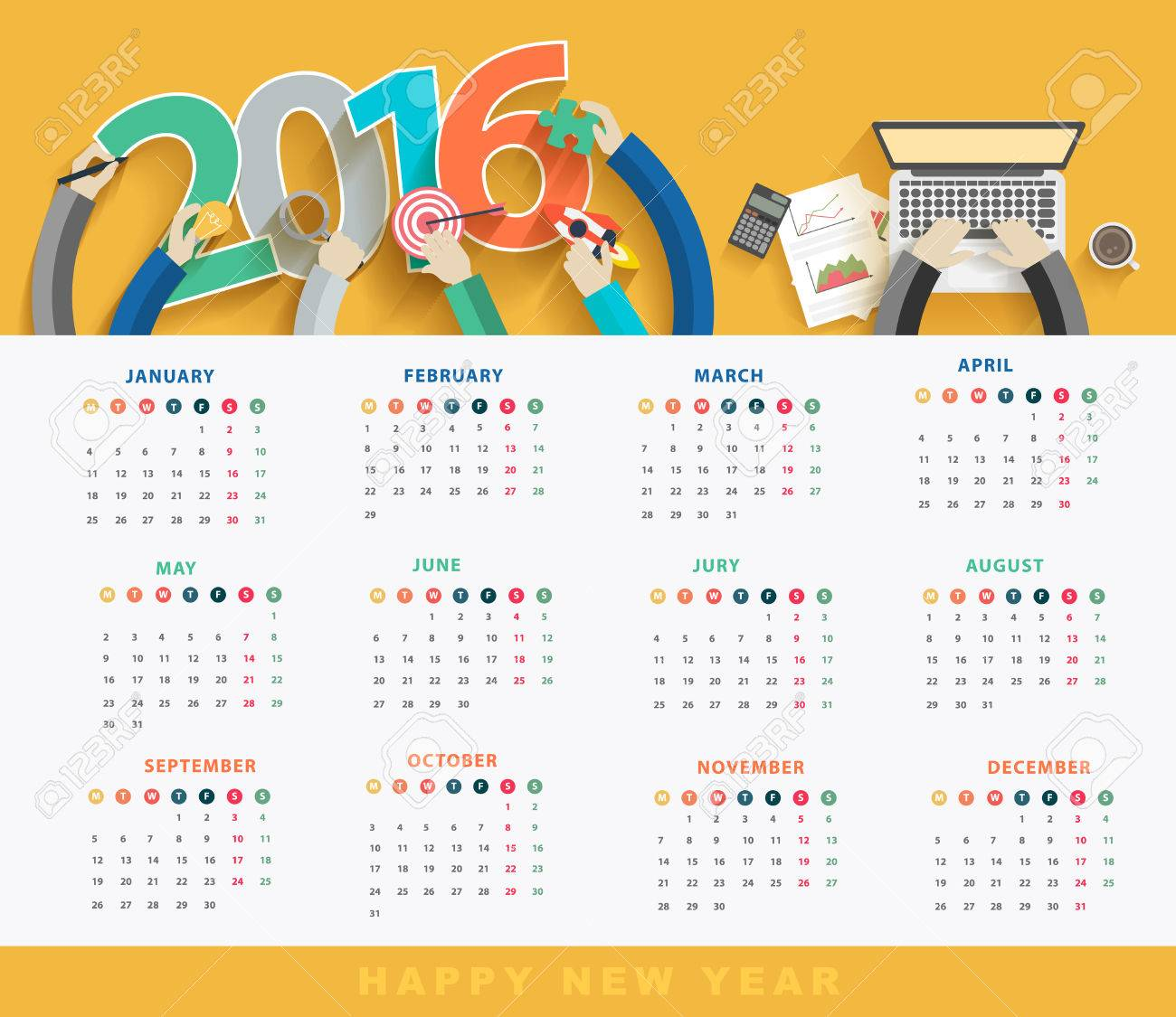 Business Calendar 2016, Flat Design Concepts Analysis And Planning ...