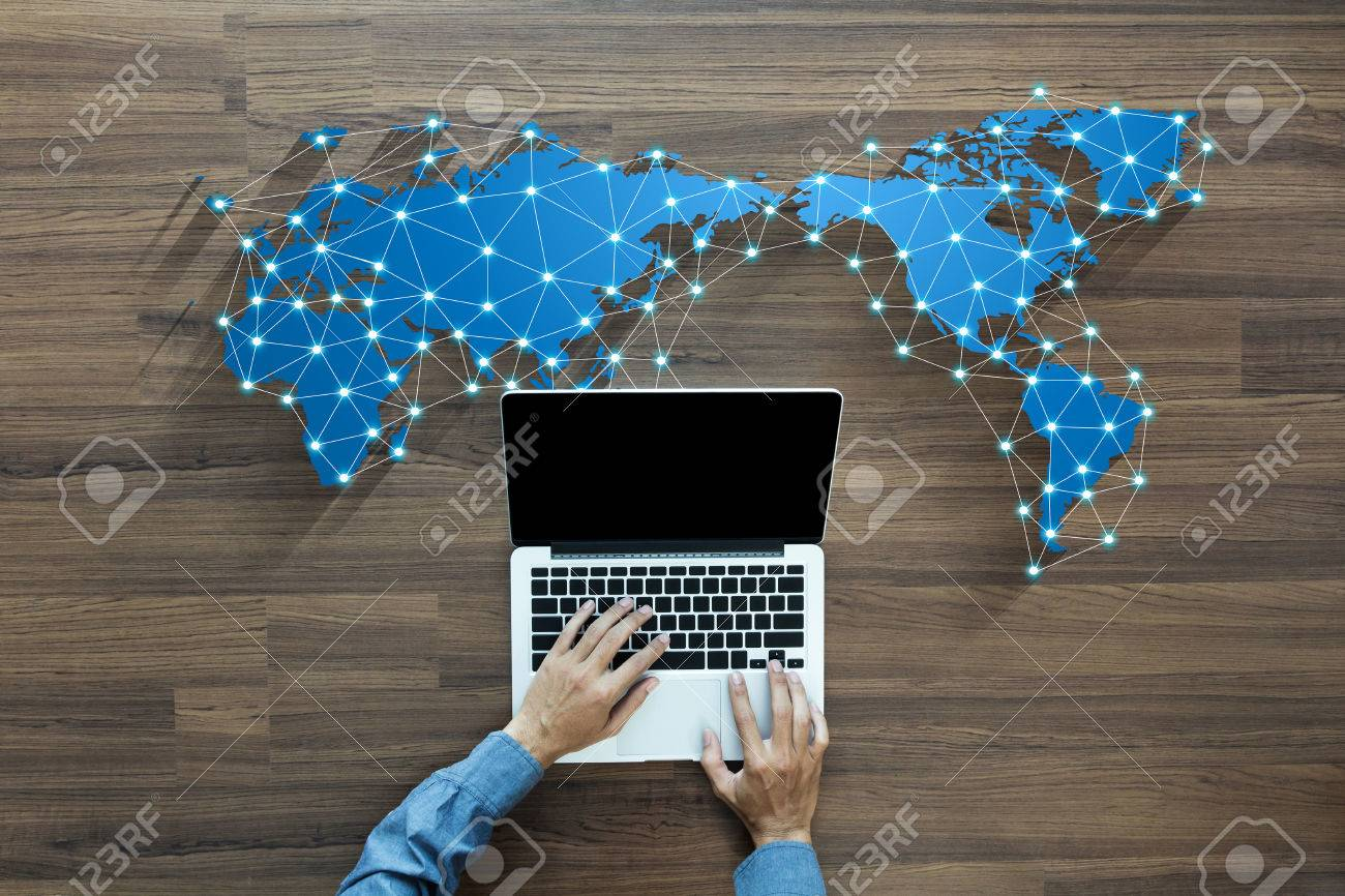 Business person working on computer social media network concept innovation technology background - 51085127