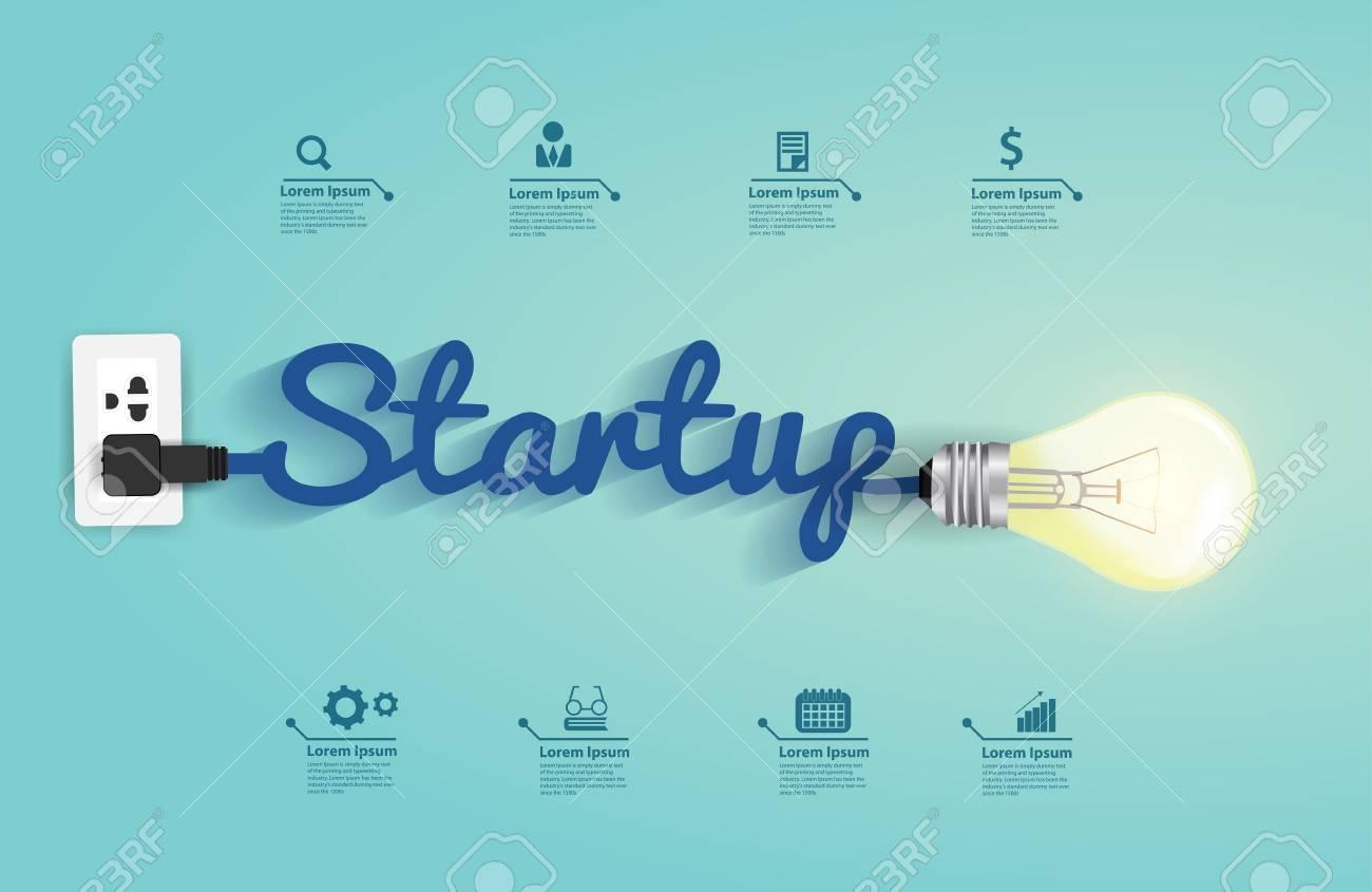Startup konzept mit kreativen glühbirne idee abbildung modernes