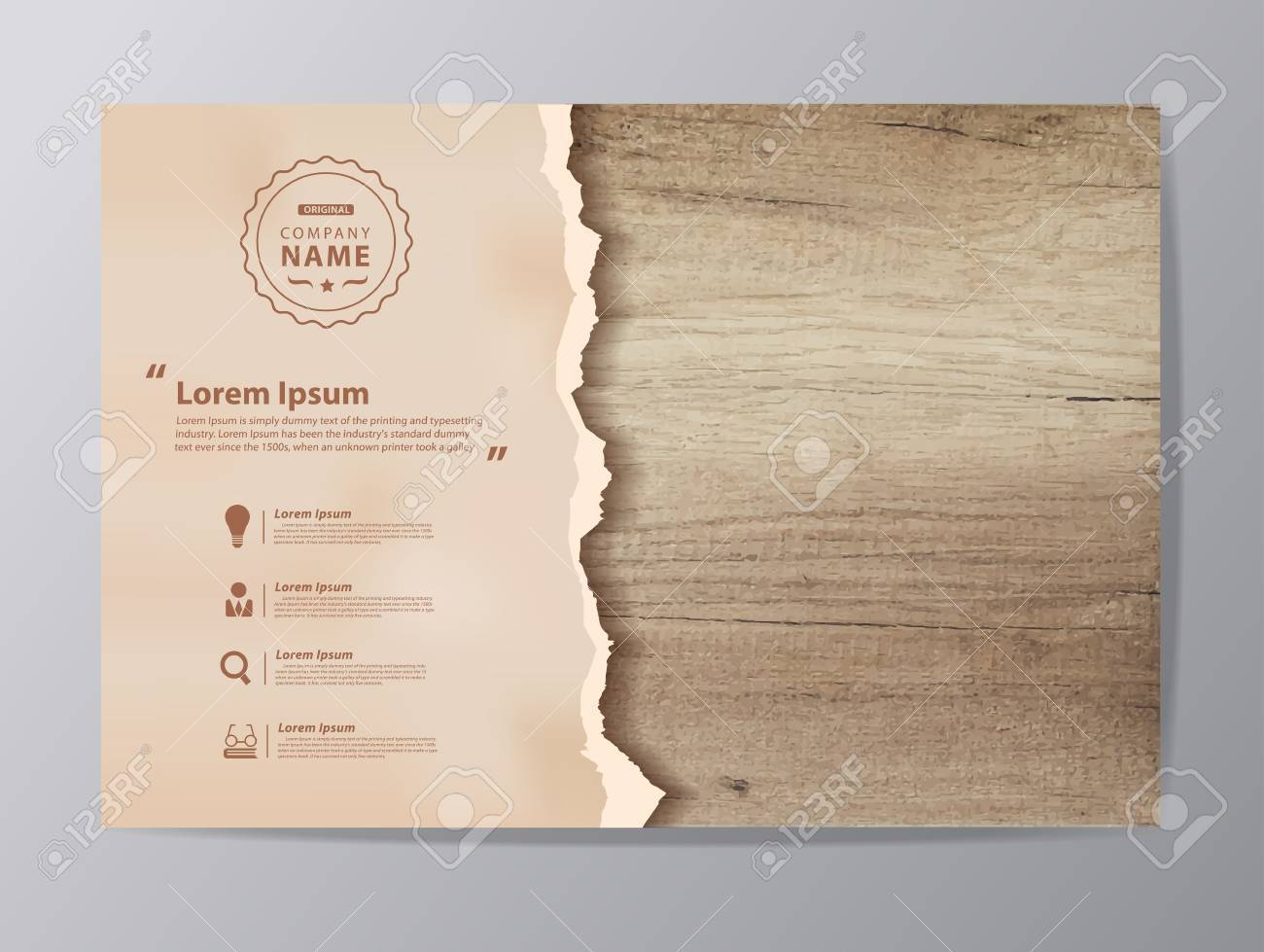 Ripped paper on texture of wood background, illustration modern design ( Image trace of wooden background ) - 56308098