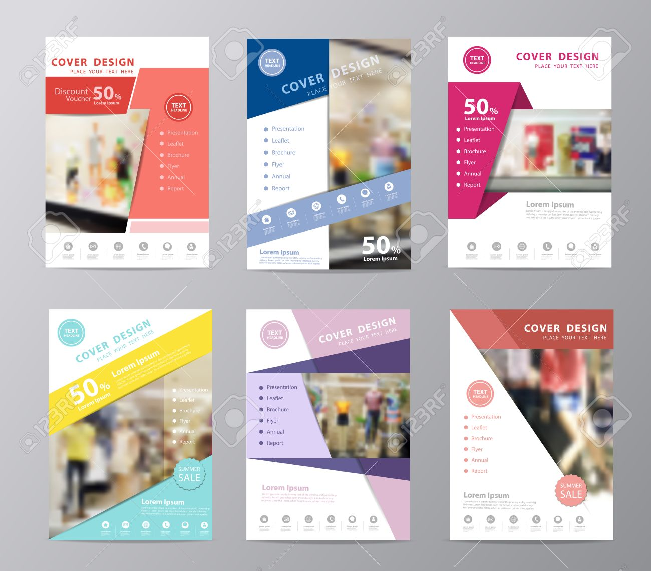 set of annual report brochure design template leaflet cover