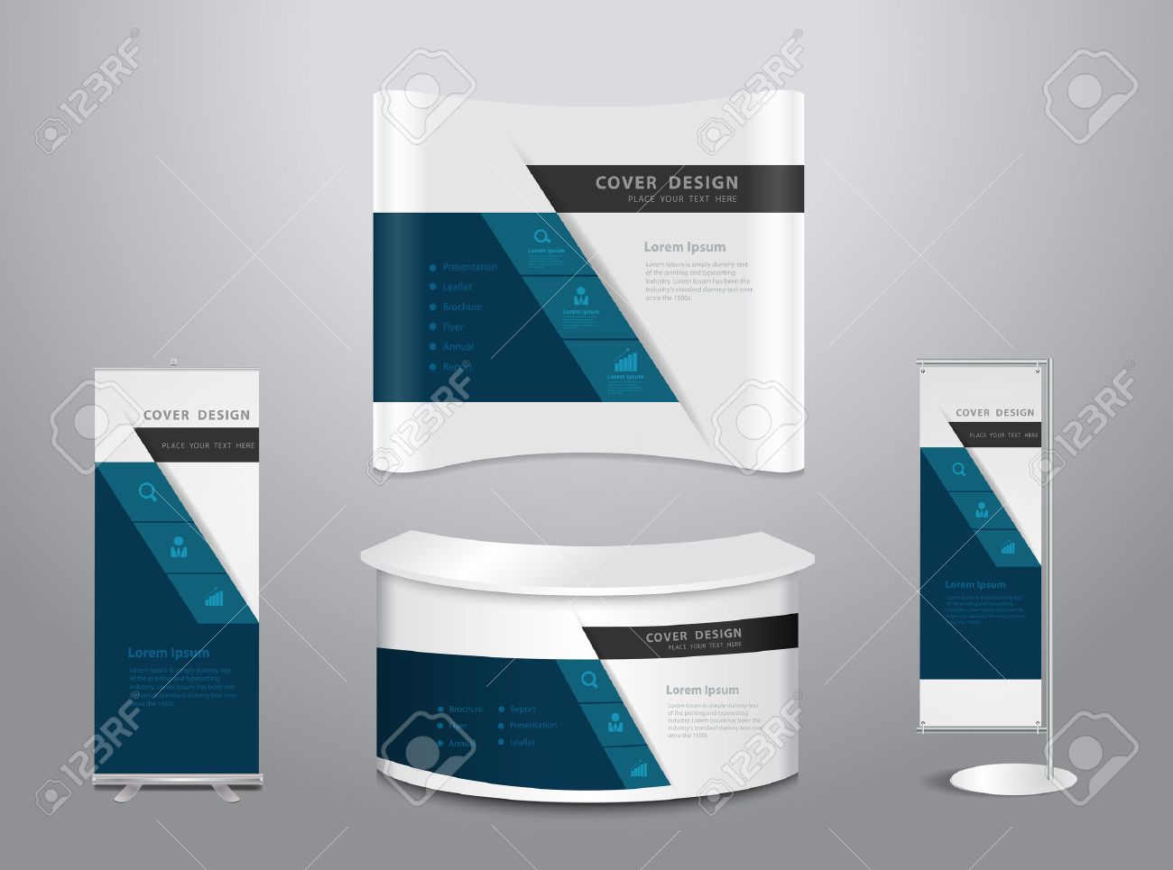 Exhibition Booth Mockup Free Download : Exhibition stands with cover presentation abstract geometric