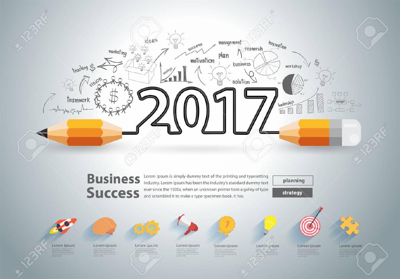 Unique Calendar Design Inspiration : Creative pencil design on drawing charts graphs business success