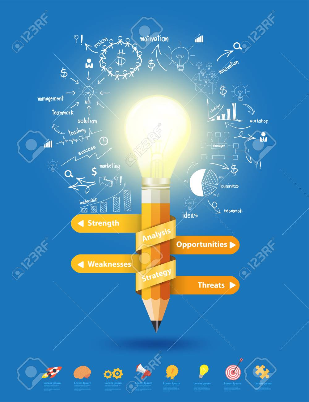 Pencil Light Bulb As Creative Concept, With Thinking Drawing ...
