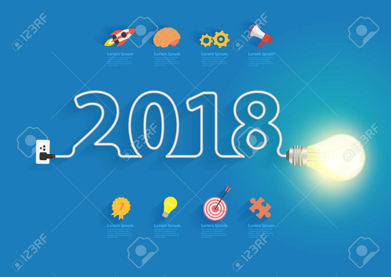Creative Light Bulb Idea With 2018 New Year Design, Inspiration