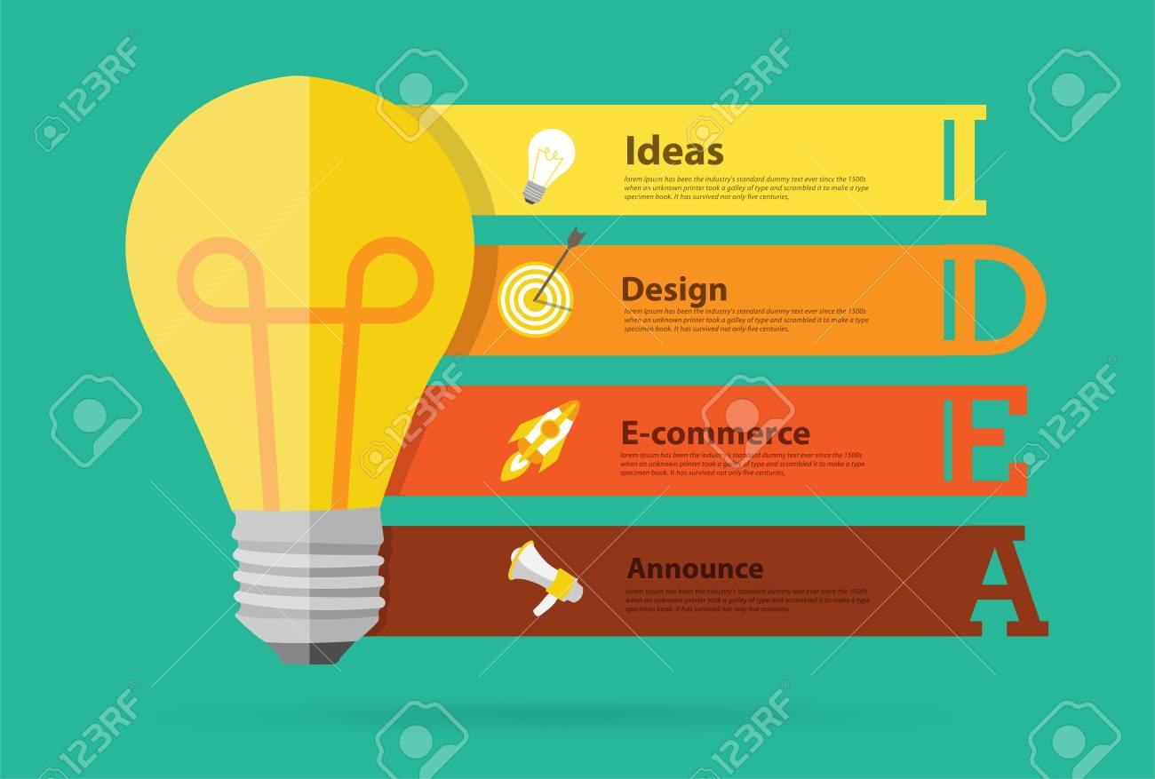 Creative Light Bulb Idea Banner Design, Infographic Typographic ...