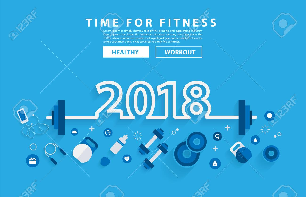 2018 new year fitness concept workout with equipment vector illustration modern layout template flat design