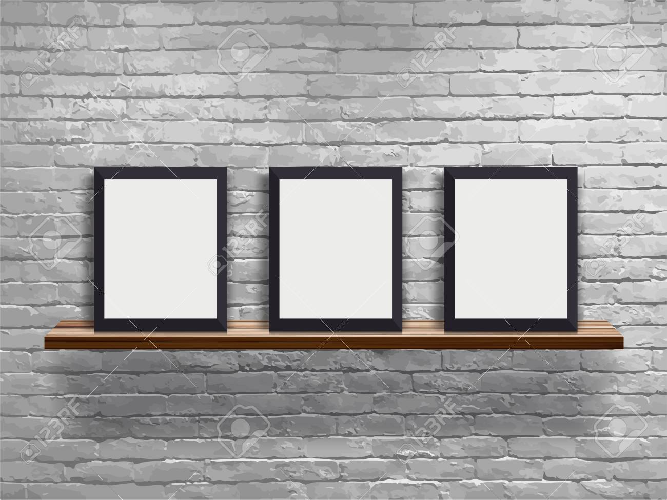 Vector mock up three blank frame on wood shelf with white brick wall, Loft workspace concept - 114957015