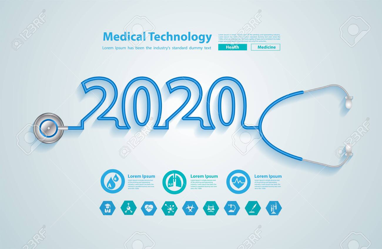 2020 new year creative design with stethoscope, And medical flat icons in medicine technology concept - 124800853