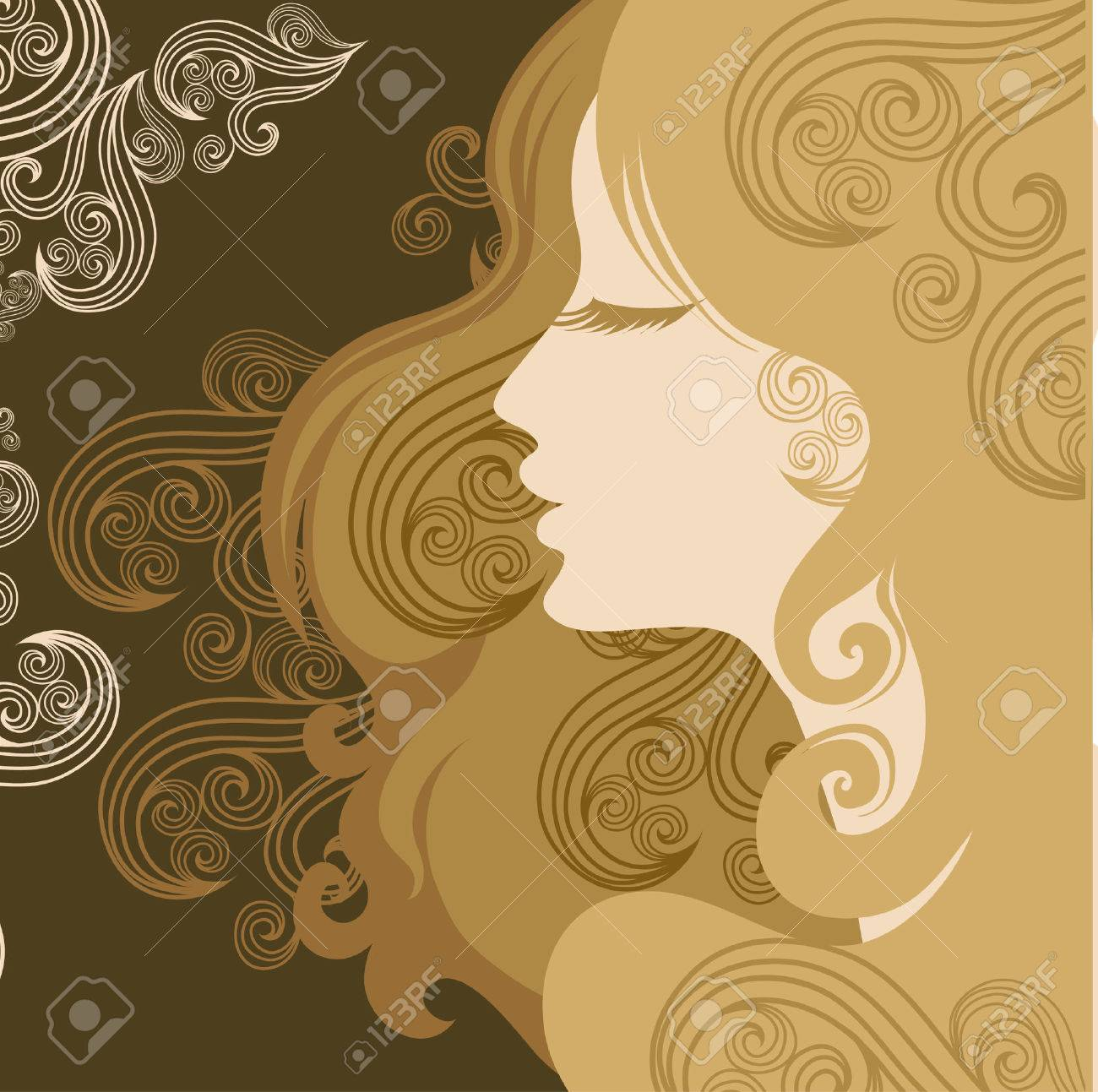 Closeup decorative vintage woman with beautiful hair Stock Vector - 5072538