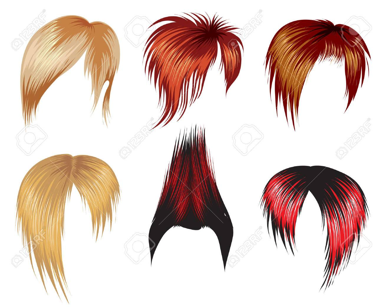 Set Of Super Trendy Hair Style Samples For Man Royalty Free ...