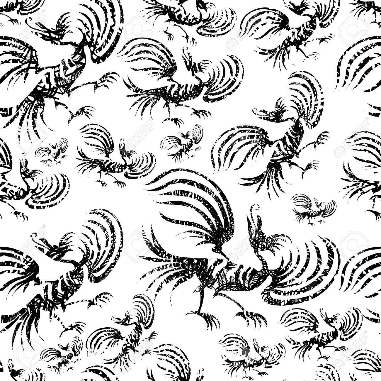 Seamless chinese dragon-bird grunge pattern Stock Vector - 5118393