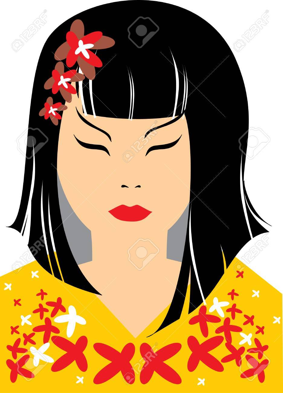 japanese girl in floral yellow kimono Stock Vector - 5144781