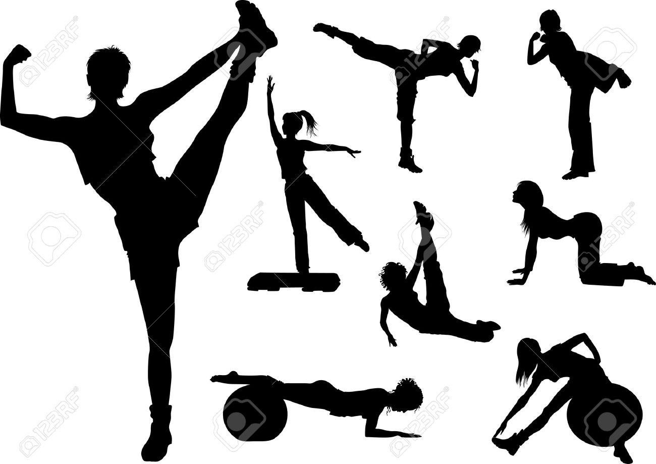 fitness woman in gym silhouette - 5144874
