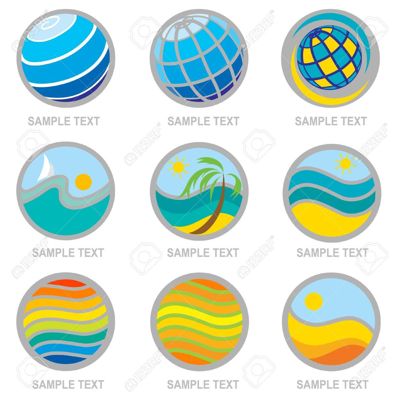 Set of brignt travel and vacation icons. Can be used for Travel agency Stock Vector - 5145243